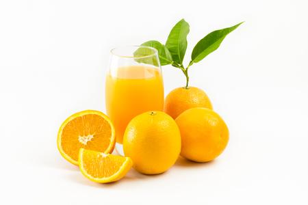 cantle: Orange juice and Oranges fruit with leafs isolated on white background. Orange Slice.