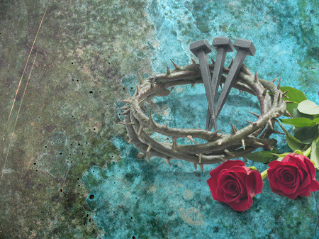 Jesus Christ crown of thorns, nails and two roses on a grunge background.