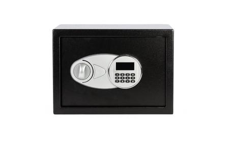 teclado numérico: caja fuerte de metal negro con el sistema de bloqueo del teclado numérico en el fondo blanco
