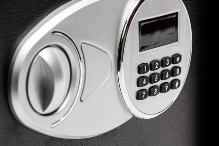 teclado numérico: Teclado numérico de la caja de seguridad, primer plano, protección, bloqueo, seguridad.