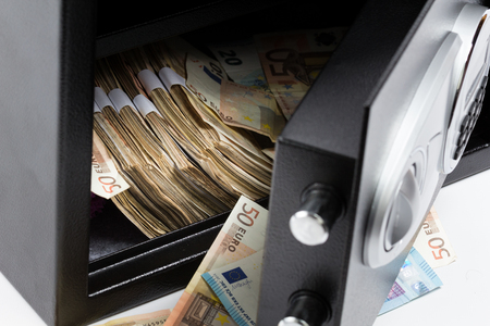 stainless steal: Open Safe Deposit Box, Pile of Cash Money, Euro banknotes