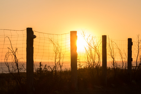 impede: silhouette of fencing along the coast at sunset, in Cadiz, Spain