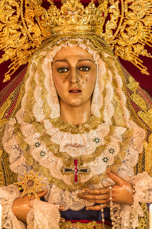 Holy week in Cadiz, Spain. Holy Mary of the Trinity. Closeup Stock Photo