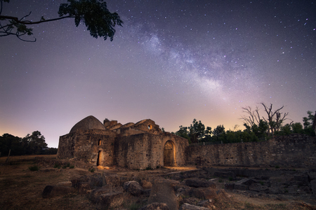 Milkyway over abandoned Visigoth hermitage in Cadiz, Andalusia, Spain. Nightscene, Lightpanting. Imagens