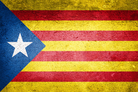 Independence Catalonia Flag on wall texture background. National Concept