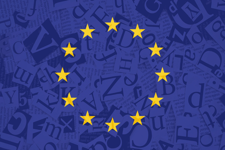 European Union flag on alphabet soup texture background. Symbol, Politic Concept.