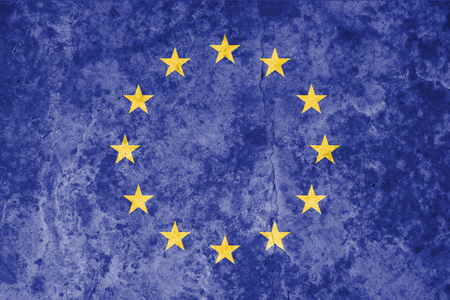 European Union flag on grunge stone  texture background. Symbol, Politic Concept.