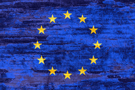 European Union flag on wooden boards background. Symbol, Politic Concept.