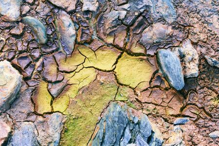 Texture of dry and cracked earth on the banks of the Rio tinto, Minas de Riotinto, Huelva, Andalusia, Spain