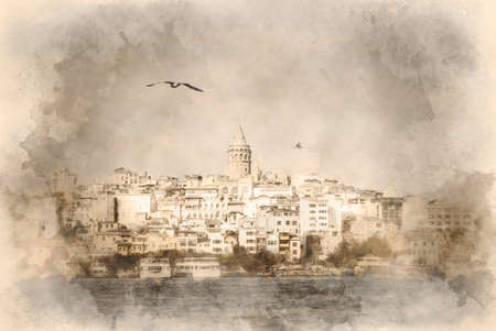 Galata district with the famous Galata Tower over the Golden Horn, Istanbul, Turkey. watercolor illustration.