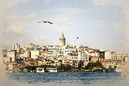 Galata district with the famous Galata Tower over the Golden Horn, Istanbul, Turkey. Galata Tower is one of main travel attractions in the city.