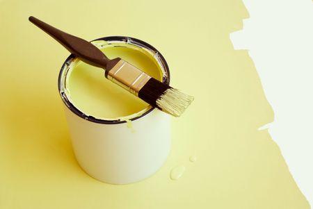 paintbucket: Home improvement paint brush on paint tin