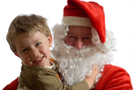 Father Christmas with a happy young boy Stock Photo - 3262211