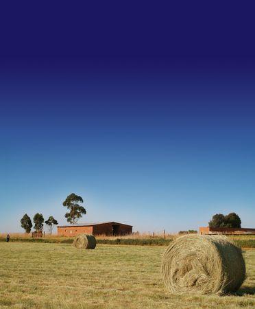 Colour farm scene with hay bails, farm house, farm worker, trees, barn and deep blue African sky photo
