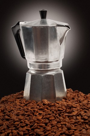 percolator: Old coffee percolator and beans Stock Photo