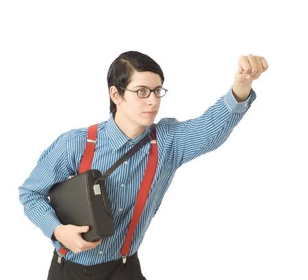 Nerd or geek businessman or IT professional super hero on white Stock Photo - 10632584