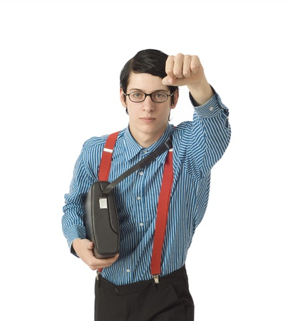 Seus looking nerd or geek businessman or IT professional super hero on white Stock Photo - 10632582
