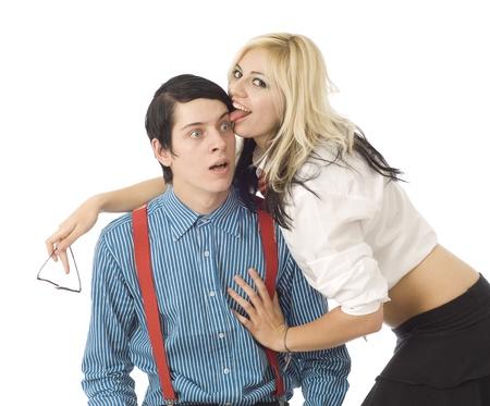 Nerd school boy surprised by pretty valentine girl love photo