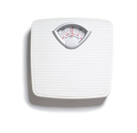 Diet bathroom weight foot scale on white