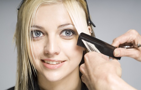 hair dresser: Hairdresser cutting client or customer with comb