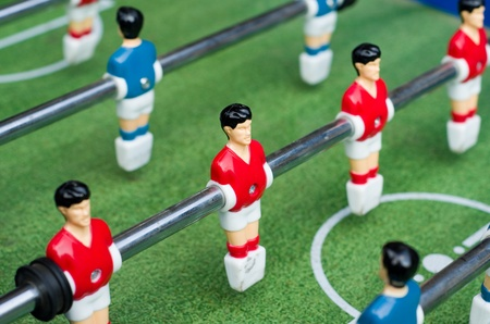 Red table soccer players Stock Photo