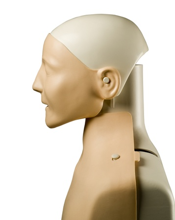 First aid medical practice mannequin or dummy isolated on white side view photo