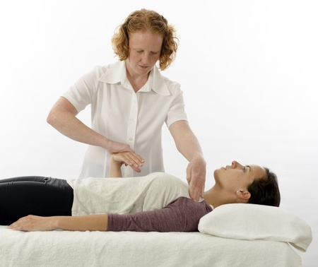 Kinesiology practitioner or kinesiologist test indicator muscle photo