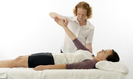 anterior: Kinesiologist or physiotherapist treating anterior serratus Stock Photo