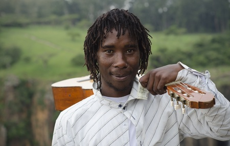 busker: African busker in Howick, KwaZulu-Natal at Howick Falls