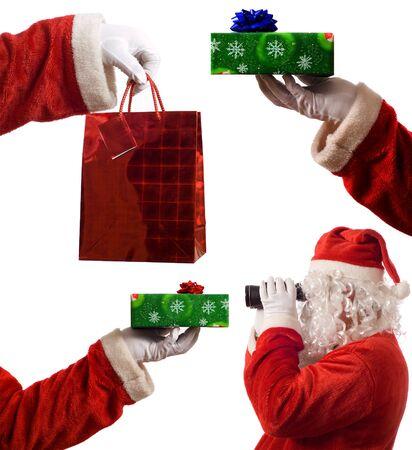 dar un regalo: Papá Noel concepto compuesto collage cuadros de imagen de cartera, paquete actual y la estrategia de la vista o visión a través de los prismáticos