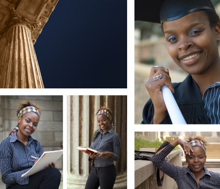 Collage combination classic greek style university college education building and African American student graduating photo