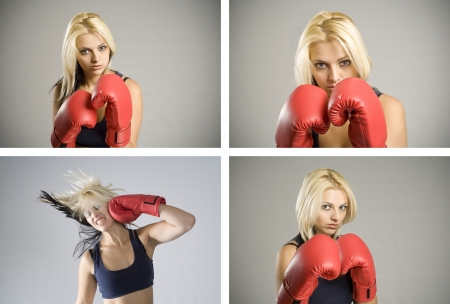 Collage combination of pretty fit blond woman boxer training or working out with red boxing gloves photo