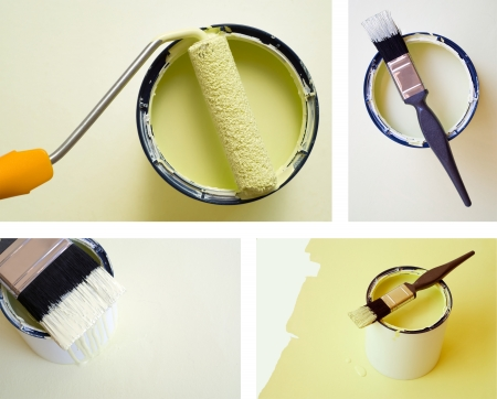 paintjob: Collage combination of DIY home improvement paint bucket and roller brush Stock Photo
