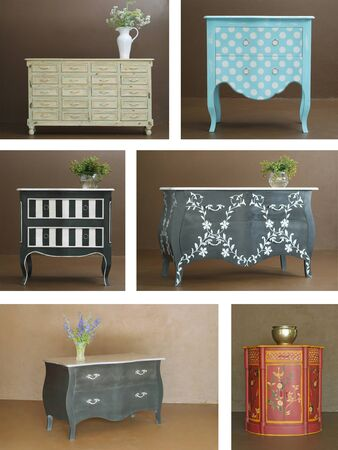 Collage combination of various hand crafted classic wooden furniture interior Stock Photo - 17142316