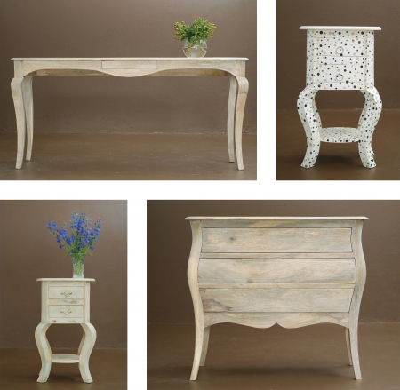 old furniture: Collage combination various hand crafted classic wooden table and dresser
