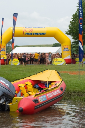 howick: MIDMAR DAM - 10 FEBRUARY 2013: A surf rescue life saving inflatable boat awaits its crew of lifesavers prior to the main event of the 2013 Midmar Mile near Howick, Kwazulu-Natal South Africa.