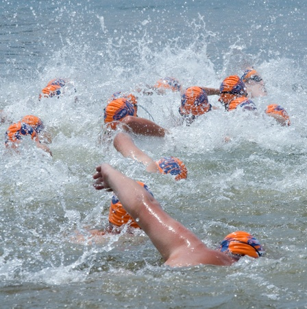 howick: MIDMAR DAM - 10 FEBRUARY 2013: Unidentified mass of swimmers participating in the main swimming event of the Midmar Mile near Howick, KwaZulu-Natal, South Africa.