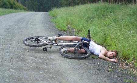 bicycle girl: Girl hurt crashing bicyble accident Stock Photo