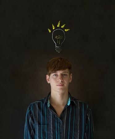 Bright idea chalk background lightbulb thinking business man