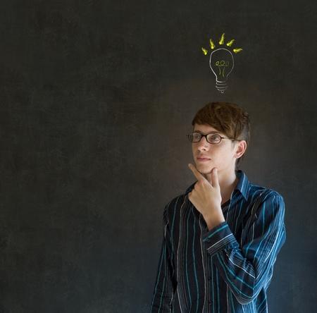 Bright idea chalk background lightbulb thinking business man Stock Photo - 18412733