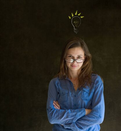 Bright idea chalk background lightbulb thinking business woman photo