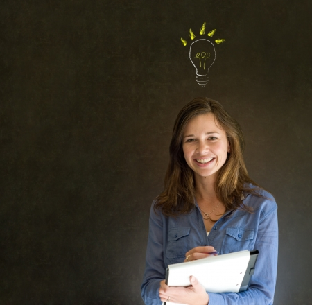 Bright idea chalk background lightbulb thinking business woman Stock Photo