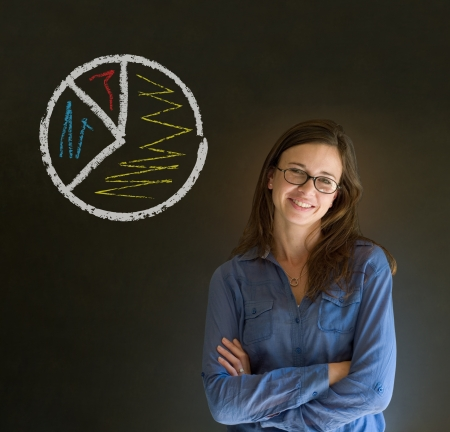 Pie chart graph chalk background business woman photo