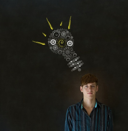 thinks: Bright idea gear cog lightbulb thinking business man