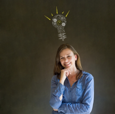 cog: Bright idea gear cog lightbulb thinking business woman Stock Photo