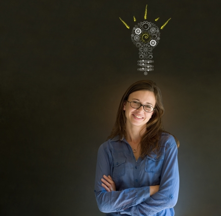 Bright idea gear cog lightbulb thinking business woman Stock Photo - 18634094