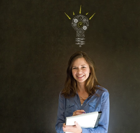 Bright idea gear cog lightbulb thinking business woman Stock Photo