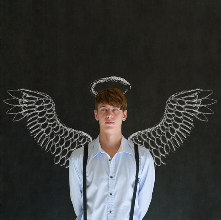 guardian angel: Teacher, salesman, student or business angel investor man with chalk wings and halo