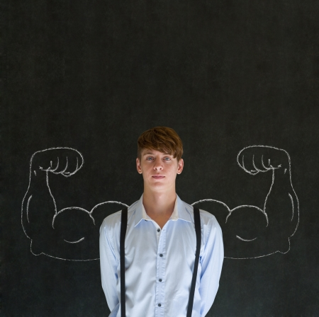 Man teacher, salesman, student or businessman with chalk healthy strong arm muscles for success photo