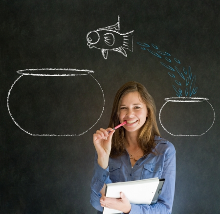 Business woman, student or teacher with fish jumping from small bowl to big bowl on blackboard background photo